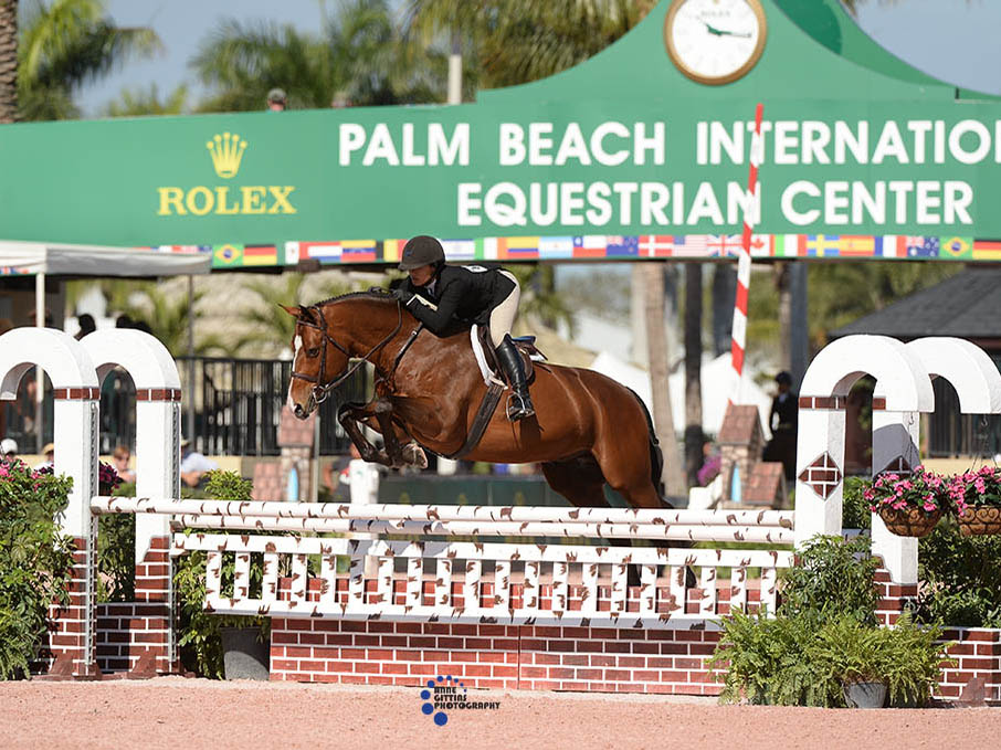 Mackenzie Altheimer jumping her horse at Palm Beach International Equestrian Center