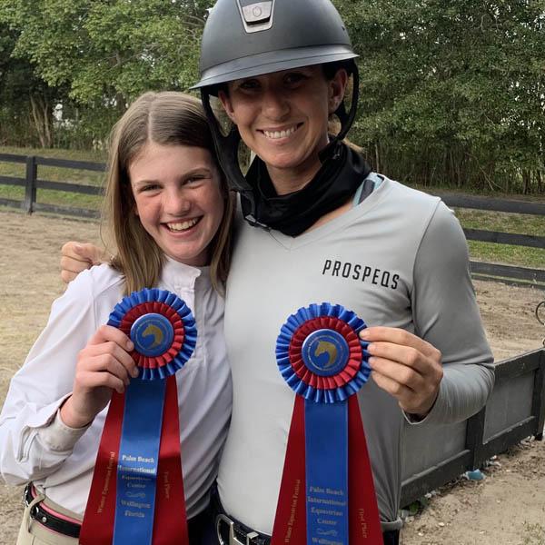 Ali McCool and Emma Mechlin at horse show.
